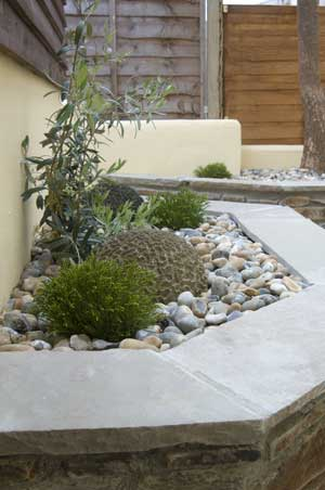 Stone walled, raised flower beds