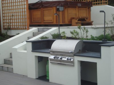 Built-in BBQ with slate work surfaces