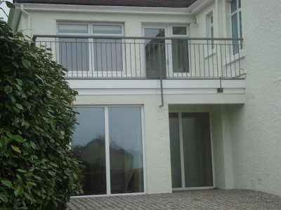Terrace and balustrade over double doors